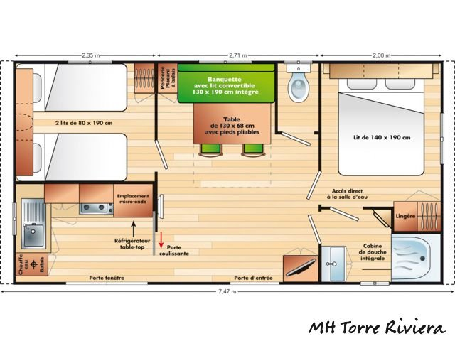 Vakantie Sardinie - Plattegrond mobile homes Torre Riviera - Sardinia4all